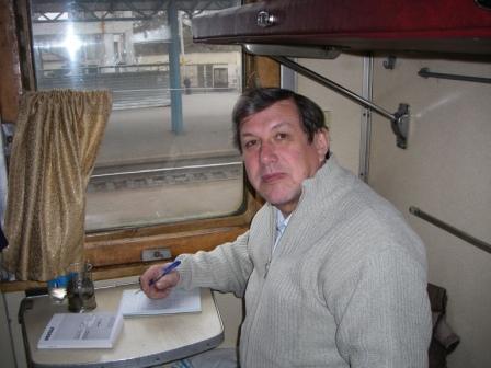 Мое рабочее место в купе скорого поезда Москва-Керчь